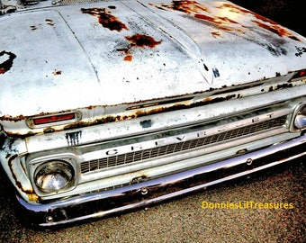 """66 Chevrolet Pick Up Truck rustic Distressed Americana Photo Print 8"""" x 10"""" antique vintage rural Photography Chevy rust"""
