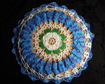 Hand crocheted potholer & hot plate, Hot plate, crochet trivet,pot holder, blue potholder, blue hot plate