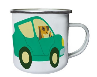 Dog driving car ,Tin, Enamel 10oz Mug v981e