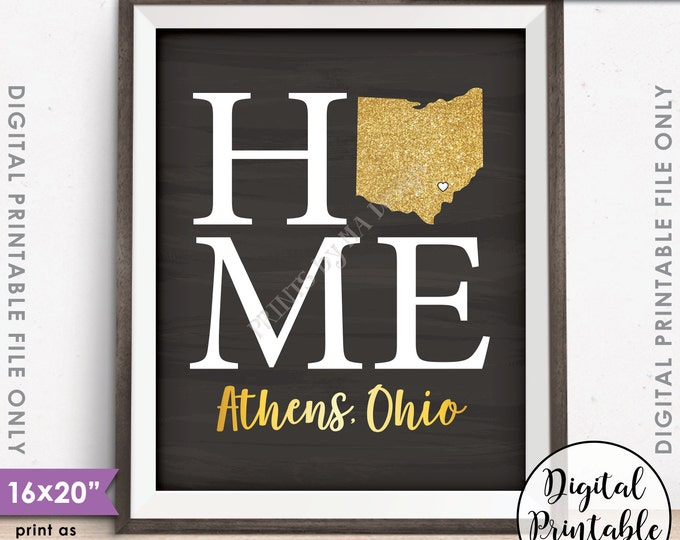 "Home Sign with State, Athens Ohio, Home Sign Decor, Home Sign Ohio, Gold Glitter, Instant Download 8x10/16x20"" Chalkboard Style Printable"