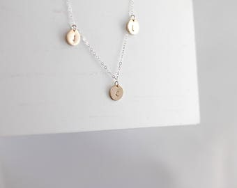 Initial choker necklace, Dainty personalized disc necklace, gold choker, monogram choker, gold disc necklace, initial necklace, stamped