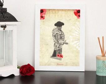 Jose Maria Manzanares Nimes flowers A4 unframed print