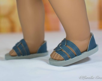 American Girl or 18 inch doll SHOES SANDALS beach flip flops peeptoe flats in Blue with Closed Heel