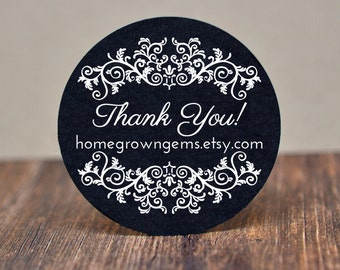 Ornate Floral Design Thank You Stickers Black with WHITE Print - Wedding - Party - Gift - Labels