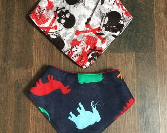 Baby Bandana Bibs | Dino Dinosaur Rock n Roll Skull Guitar | Black Grey White Red Navy | Dribble Drool Absorbent
