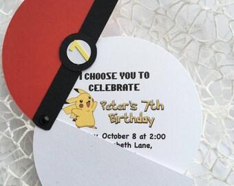 15 Pokemon Birthday Invitations, Pokemon Party, Pokeball invitation, Pokemon inspired invitation, Pikachu invitation