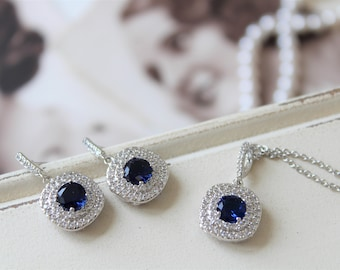 Set of 3, 4, 5 Bridesmaid Earrings Necklace Set , Blue Crystal  Earrings, Bridal Earrings, Wedding Earrings, Bridesmaid gift Wedding Jewelry