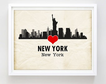 New York Skyline Poster Print New York City Print Printable Art Love NYC Print Travel Poster Urban Silhouette Wall Decor Digital Download