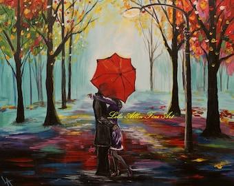 "Couple in Love Couples Art Print Wall Art Kissing Couple Couples Painting Print Romance Romantic Umbrella Rainy ""Sweethearts Kiss"""