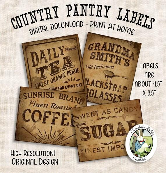 Coffee Tea Labels Country Pantry Primitive Prim Digital Download