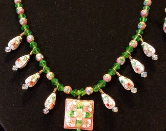 """SALE - 19"""" Cloisonne Necklace and Earrings"""