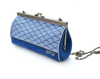 retro clutch bag Navy Blue and gold chic