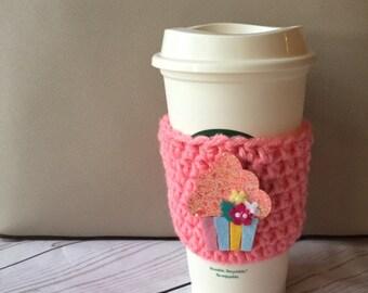 Birthday Cupcake Coffee Cozy ~ Crochet Coffee Cozy ~ Crochet Coffee Cozie ~ To Go Cup Cozy
