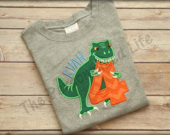 Dinosaur Birthday Shirt - Personalized Applique Monogram T-Rex Birthday T-shirt tee Matching Set