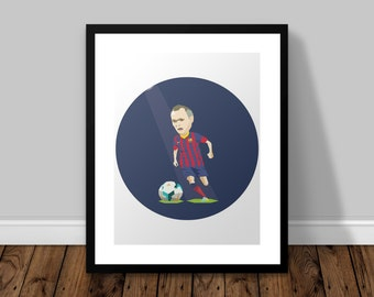 Andres Iniesta Barcelona Illustrated Poster Print | A6 A5 A4 A3