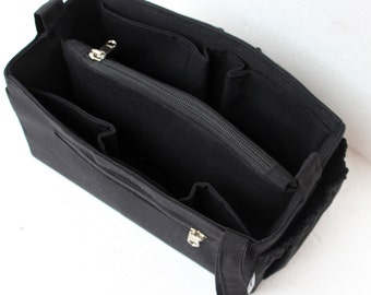 Purse organizer insert / Bag organizer /Handbag organizer in Black fabric