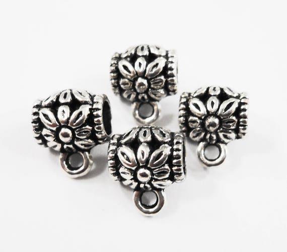 Silver Jewelry Bails 9x8mm Antique Silver Bails, Silver Flower Bails, Metal Bails, Necklace Bails, Bracelet Bails, Jewelry Findings, 10pcs