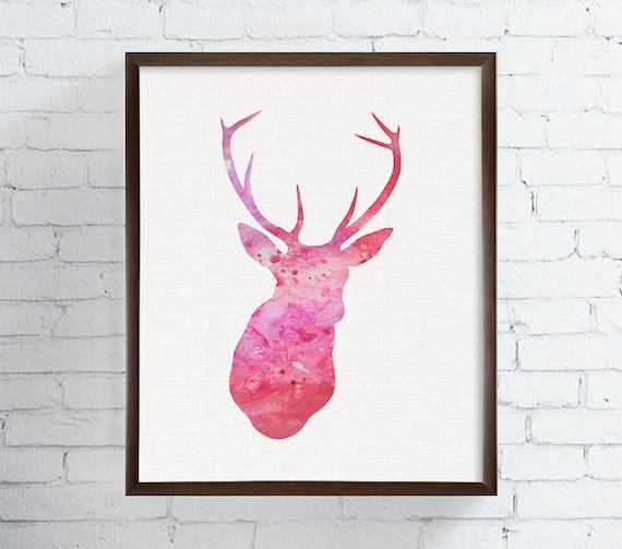 Deer Print Deer Art Pink Deer Deer Antler Woodland Decor