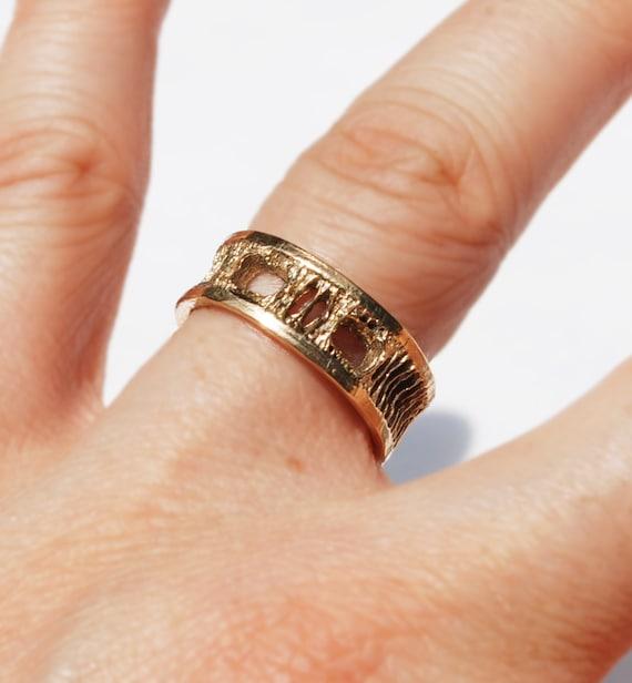 Gold Shark Vertebra Ring - 5k -US size 5.75. Ready to ship.
