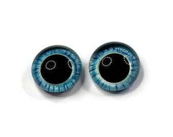 18mm German Glass Eyes,teddy bear,AQUA BLUE w STRIPING,eyes, teddy bear eyes, hand painted glass eyes,18mm,German glass eye