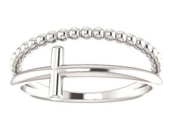 Sterling Silver Beaded Cross Ring
