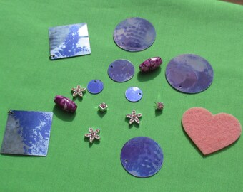 Lot Of Distressed Purple Sequins Pink Rhinestone Flower Square Beads  Plastic Beads Felt Heart