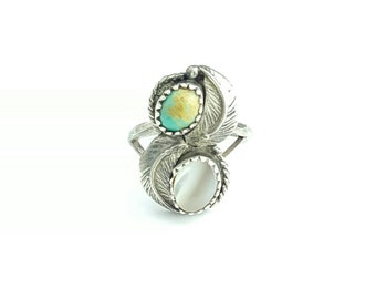 Vintage Native American Turquoise and Mother of Pearl Sterling Silver Feather Ring- Size 6.75