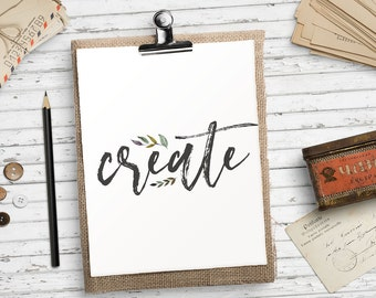 Create print Creative art quote Printable art print Wall art for office Floral wall art Home office decor Artist decor HEART OF LIFE Design