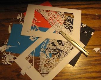cut paper map of YOUR neighborhood (5x7)