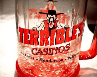 2 Terrible's Casino Freezer Mugs Former Las Vegas Casino - Great Collector Item!