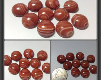 Red Agate with line cabochon 15mm