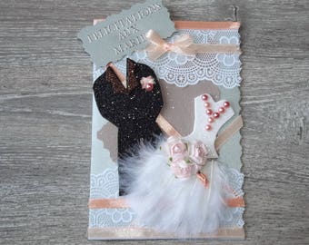 """Duo feathered"" wedding congratulations card: apricot"