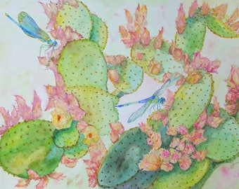 original large dragonfly cactus watercolor painting, wall decor, home decor, southwest art, dragonflies watercolor, cactus in bloom art