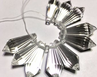 Clacier ice clear Faceted Crystal drop briolettes top drilled 18mm