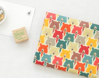 """Matte Laminated Cotton Fabric by the yard Big Bear Point_ colorful_43.3"""" wide 146893"""
