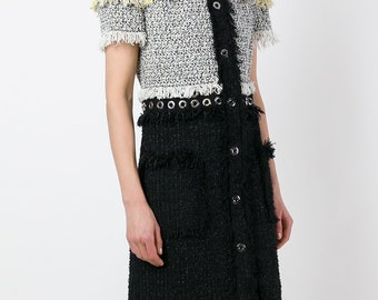 Cotton Tweed yellow black and white