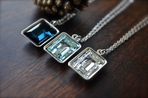 Swarovski Necklace | Rectangle Crystal Necklace | Step Cut Crystal | Sterling Silver Wedding Necklace | Great Gatsby