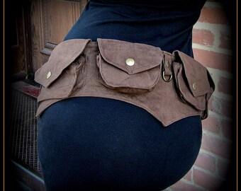 Festival pocket belt bag ~ vegan canvas utility belt w/ pockets ~ steampunk brown, black, purple, teal canvas ~ hip belt ~ Batman cosplay