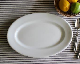 White Ironstone Restaurant Ware Platter . Shenango . Rim Rol . Buffalo China . Modern Farmhouse Kitchen . Cottage Decor . White Dishes
