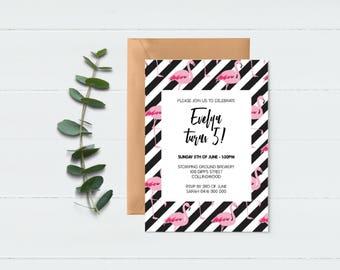 Flamingo Invitation - Girls Invitation - Pretty Invite - Monochrome Invite - Pink & Black Invite - Birthday Invite - Wedding Invite - Party