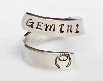 Gemini - Personalized Zodiac Ring - Personalized Ring - Custom Ring - Handstamped Ring - Astrology Ring -Adjustable Ring - Astrological Gift