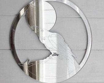 Crow Talking to the Moon Acrylic Mirror