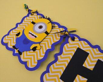 Minions Inspired themed Happy Birthday Banner. Happy Birthday Banner Customizable