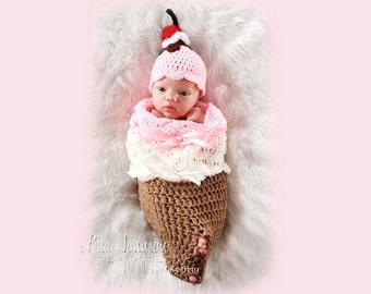 Sweet Baby Girl Hat and Baby Cocoon - Newborn Baby Ice Cream Cone Cocoon & Sundae Baby Hat