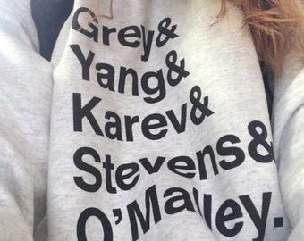 Grey's anatomy cast names sweatshirt, squad goals, grey's anatomy, greys anatomy gifts, greys anatomy merchandise, greys anatomy sweatshirt