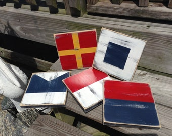 Nautical Flag Code Signs 7x7  CUSTOM Boating decor  Spell your name