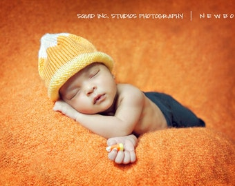 READY TO SHIP Boston Beanies Candy Corn Hat, Knit Baby Hat great photo prop