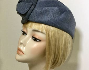 Hat: unusual pale blue Glengarry style hat, vintage style military 1940s hat, made from a man's jacket, unusual gift, quirky formal hat