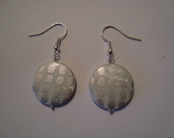 White and grey earrings