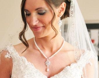 Pearl Bridal Necklace, Vintage Wedding Necklace, Art Deco Bridal Jewelry, Crystal Wedding Necklace, Vintage Bridal Jewelry, JACQUELINE